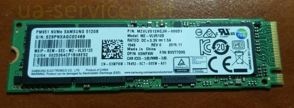 SSD накопичувач Samsung PM951 NVMe (3WF8W) 512Gb
